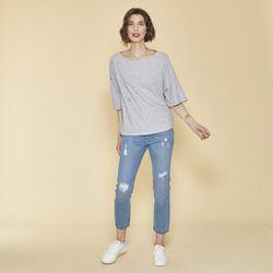 Promo : Tee-shirt manches courtes oeillets devant - gris chiné - 3 SUISSES - Modalova