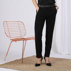 Promo : Pantalon fluide noir élastique argent Charly - 3S. x Le Vestiaire - Modalova