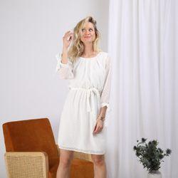 Promo : Robe plumetis ceinturée unie - 3S. x Le Vestiaire - Modalova