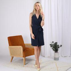 Promo : Robe portefeuille ceinturée unie - 3S. x Le Vestiaire - Modalova