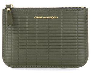 Porte-monnaie Brick Line en cuir couleur kaki - Comme des Garçons Wallet - Modalova