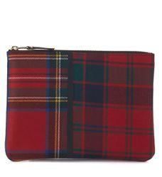 Sac à enveloppe en laine tartan patchwork rouge - Comme des Garçons Wallet - Modalova
