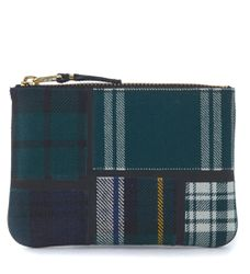 Sac à enveloppe Comme des Garçons en laine fantaisie tartan patchwork verte - Comme des Garçons Wallet - Modalova