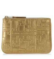 Pochette Wallet Comme des Garçons en cuir or imprimée - Comme des Garçons Wallet - Modalova