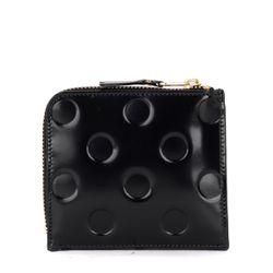Porte-monnaie en cuir noir brillant imprimé - Comme des Garçons Wallet - Modalova
