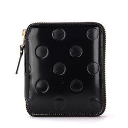 Portefeuille Comme Des Garçons en cuir noir brillant imprimé - Comme des Garçons Wallet - Modalova