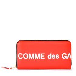 Portefeuille Huge Logo zip autour en cuir rouge - Comme des Garçons Wallet - Modalova