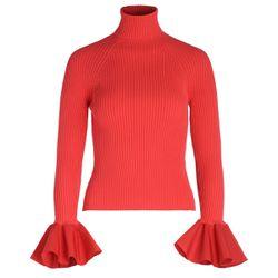 Maglia rossa con maniche a rouches - ELISABETTA FRANCHI - Modalova