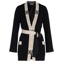 Cardigan a vestaglia nero con stampa logata - ELISABETTA FRANCHI - Modalova