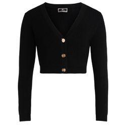 Micro cardigan noir avec boutons couleur or - ELISABETTA FRANCHI - Modalova