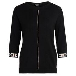 Maglia tricot nera con profili a contrasto - ELISABETTA FRANCHI - Modalova