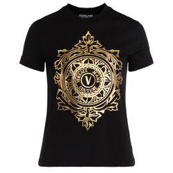 T-Shirt noir avec logo Emblem Leaf - VERSACE JEANS COUTURE - Modalova
