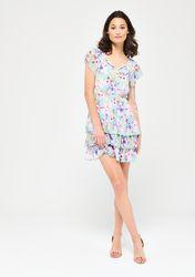 Robe courte satinée à imprimé floral - LolaLiza - Modalova